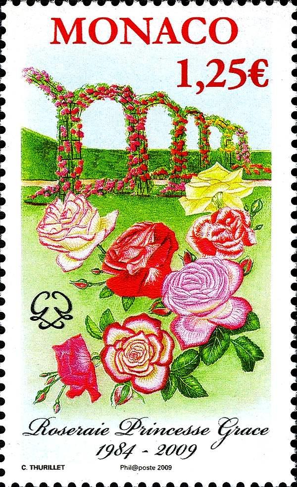 Rosesp timbre 25 anniv roseraie princesse grace colette thurillet